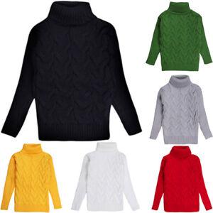 c54cd977884f Infant Kids Boy Girl Turtleneck Sweaters Winter Warm Knit Tops ...