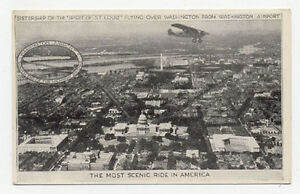 "1928 WASH AIRPORT SISTERSHIP OF ""SPIRIT"" POSTCARD PC697"