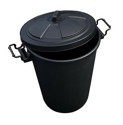 80//85 Litre 80L 85L Large Black Plastic Dustbin Kitchen Bin Clip On Locking Lid