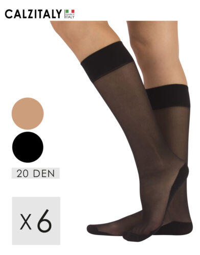 Pack 6 pairs Knee High Socks With Micofiber Comfort Sole Made in Italy