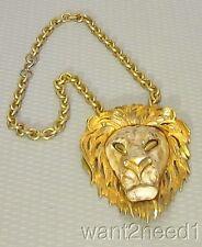 "vtg XL RAZZA LION NECKLACE goldtone 4"" Leo face pendant on chunky 20"" chain"