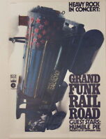 GRAND FUNK RAILROAD HUMBLE PIE CONCERT TOUR POSTER 1972 KIESER