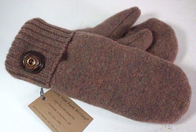 Reliable Valley View Farms Taupe Multicolored Recycled Wool Sweater Mittens Fleece Lined Commodities Are Available Without Restriction