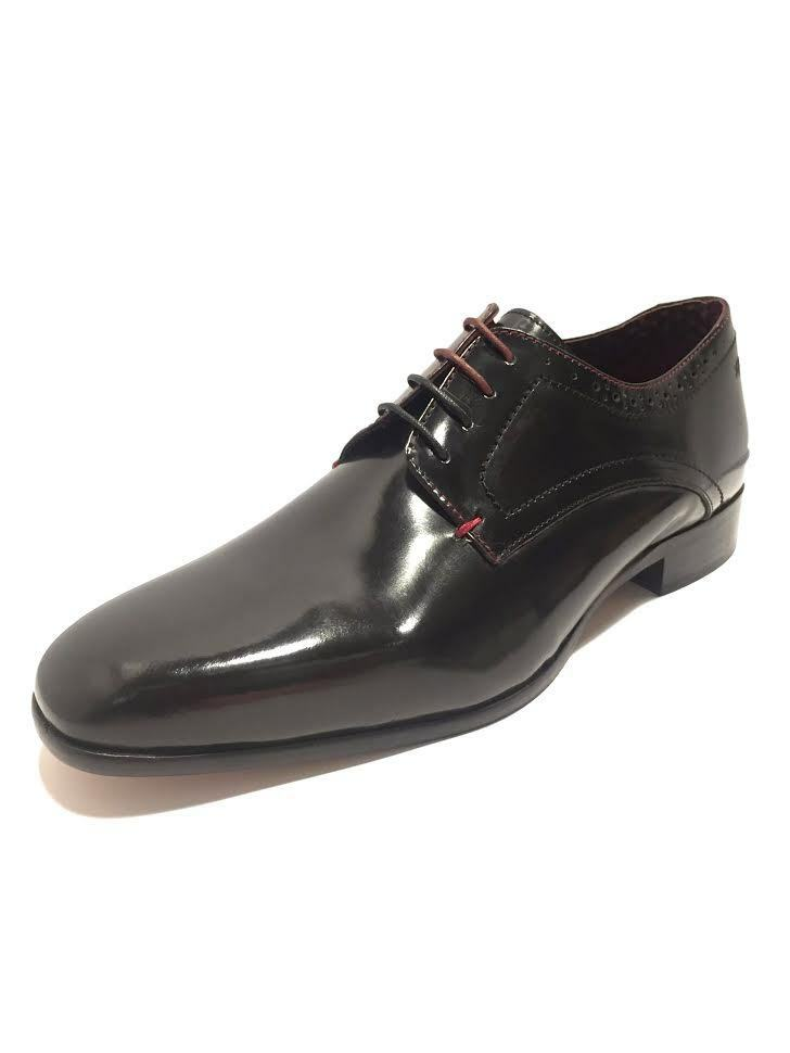 London Brogues Mens Brune Polished Leather Shine schuhe Smart Formal Lace Up New