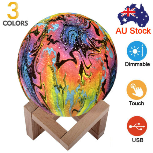Details about  /3D Lunar Moon Lamp USB Moonlight Graffiti Ghost LED Night Light Touch Remote