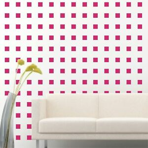 200 Of 2 Hot Pink Peel Stick Removable Squares Wall Vinyl Decal Sticker Ebay