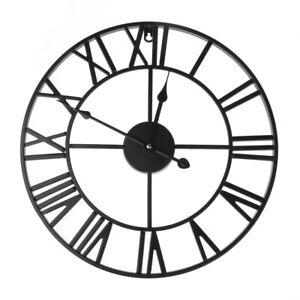 Large-Outdoor-Garden-Wall-Clock-Big-Roman-Numerals-Giant-Open-Hollow-Metal-40cm