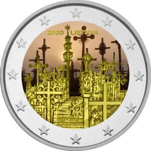 2-Euro-Gedenkmuenze-Litauen-2020-coloriert-mit-Farbe-Farbmuenze-Berg-der-Kreuze