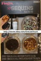 Fing'rs Nail So Sequins Polish+sequins Black+gold+silver Heart2art Kit 33061