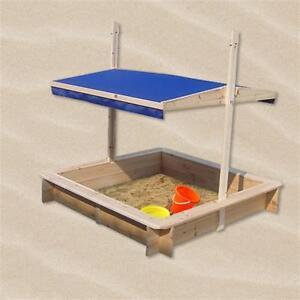 Sandkasten-Sandbox-Sandkiste-Spielhaus-Holz-mit-verstellbaren-Dach-blau-NEU