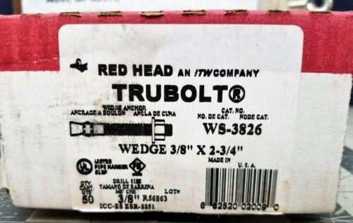 "A1S3 3//8/"" x 2-3//4/"" Red Head Trubolt Anchor Zinc Plated WS-3826 50//Box"
