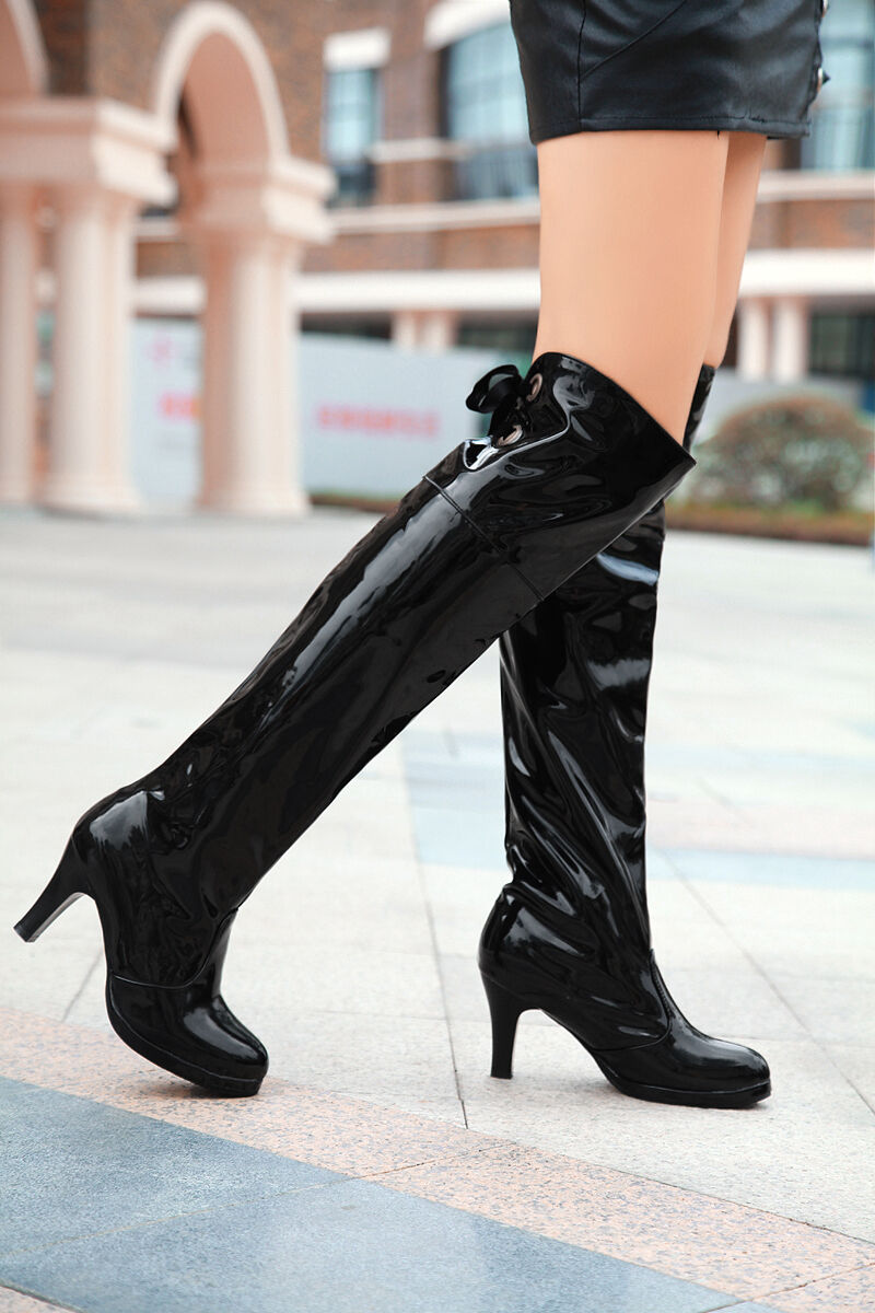 Women Kitten Heels Patent Leather Platform Knee High Boots Lace Party shoes