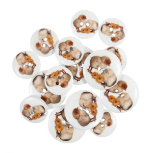 15 x Assorted Chicks Sunflower Wooden Craft Buttons 18mm 25mm