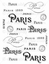 A5 FRENCH FURNITURE PARIS DECALS TYPOGRAPHY FRENCH IMAGE TRANSFER VINTAGE LABEL