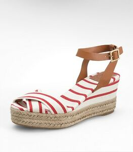 96697ff09e6f NEW TORY BURCH SZ 11 KARRISA WEDGE ESPADRILLE RED NATURAL PLATFORM ...