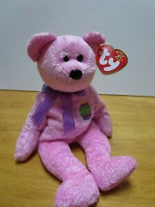 Mint w// Tags Easter Bear Ty Beanie Babies Eggbeart w// rainbow egg 2003