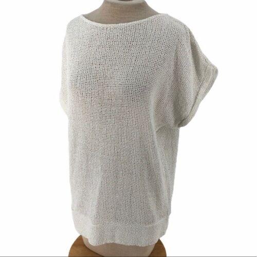 Abi Ferrin Flowy Mesh Top Shirt White M Medium - image 1