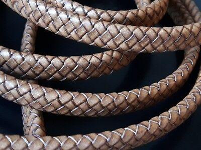 CUP-19 autentico pulseras genuino 1 metro de cuero plano MARRON CLARO 10 x 5mm