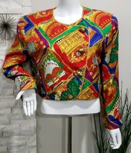 Neiman-Marcus-Vintage-Colorful-Gold-Silk-Cropped-Jacket-Women-Size-14