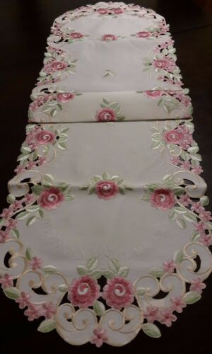 """15/""""x70/""""  Embroidered Tablecloth Pink French RosesTable Runner Home Decor Topper"""