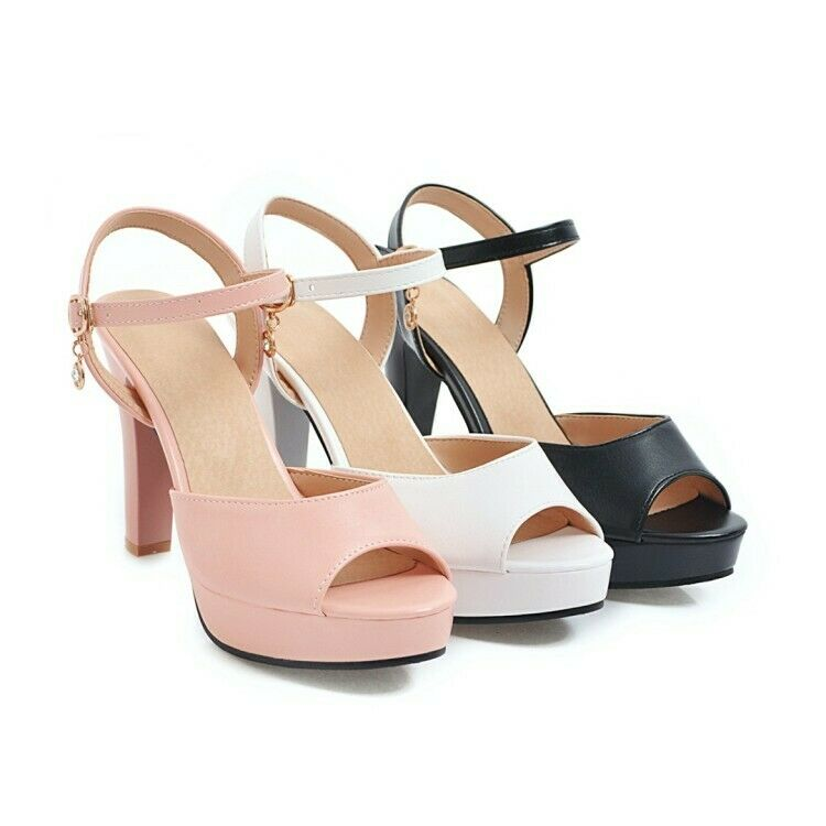Plus Size US 2-12.5 Ladies Peep Toe Pumps Platform Sandals shoes High Block Heel
