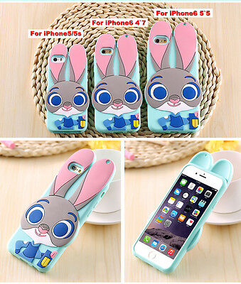 3D Animal Zootopia Disney Judy Rabbit Polka Dot Bow Silicone Soft Case For Phone