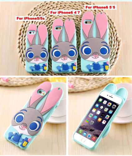 3D Zootopia Judy Rabbit Cartoon Phone Case Cover For iPhone X XS SE 5 6 7 8 Plus