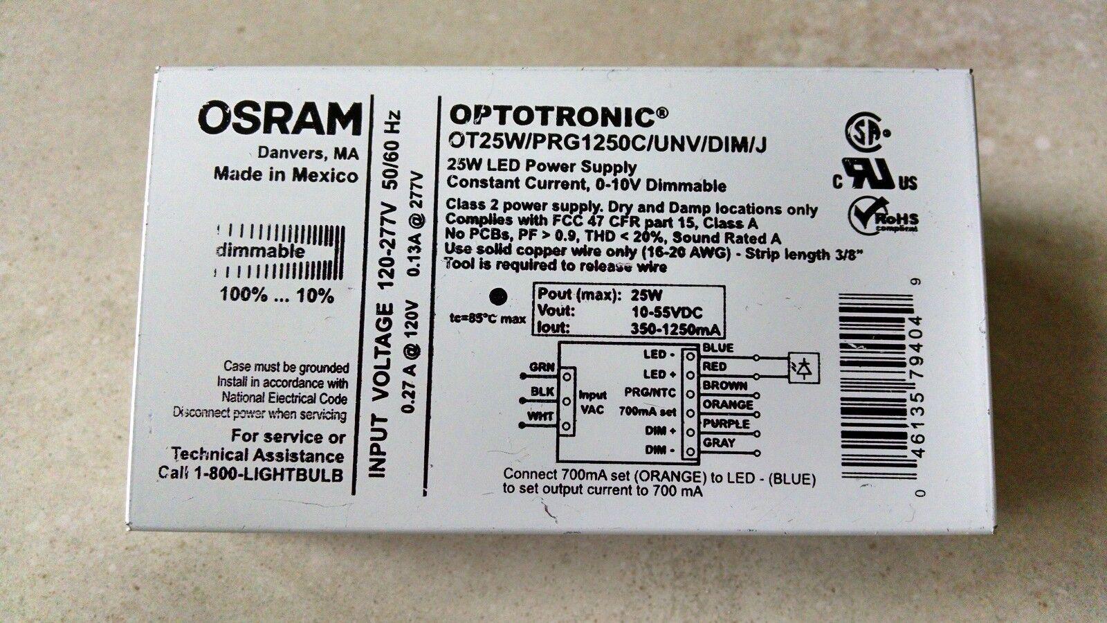 OSRAM OPTOTRONIC 25W LED POWER SUPPLY BRAND NEW OT25W//PRG1250C//UNV//DIM//J