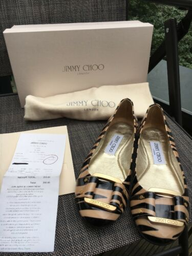 255 Genuine Jimmy Choo Morse Zebra Print Patent Leather, Size 2, 3, eur 35, 36