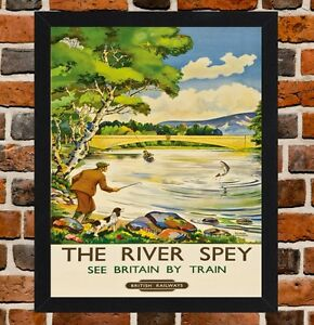 Framed The River Spey Scotland Travel Poster A4 White Frame A3 Size In Black