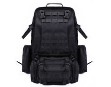 55L Molle Outdoor Military Tactical Bag Camping Hiking Trekking Backpack Black