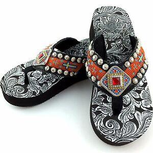 Details About Western Orange Aztec Cross Rhinestone Concho Flip Flop