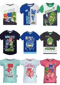 Boys-Girls-Kids-Children-Pj-Masks-Short-Sleeve-Tee-Tshirt-Top-Age-2-8-years