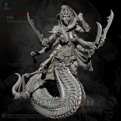 Unpainted 1//24 75MM Snake Demon Resin Figure Beauty Girl Model Kit Unassembled
