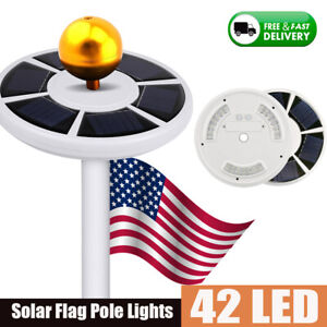 Solar Powered Flag Pole Light 128 LED USA Night Super Bright Flagpole Waterproof
