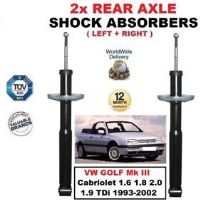 FOR VW GOLF Mk III Cabriolet 1.6 1.8 2.0 1.9 TDi 1993-2002 REAR SHOCK ABSORBERS