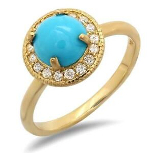 Certified-2-40cttw-Turquoise-0-30cttw-Diamond-14KT-Yellow-Gold-Ring