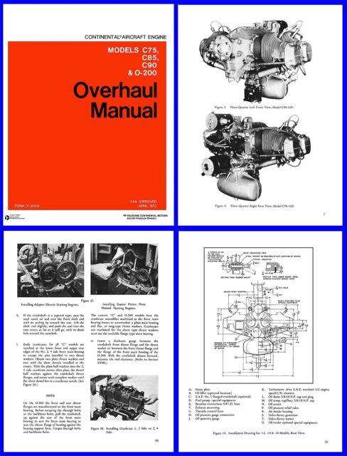 Overhaul manual continental c75 c85 c90 & o-200 engines | ebay.