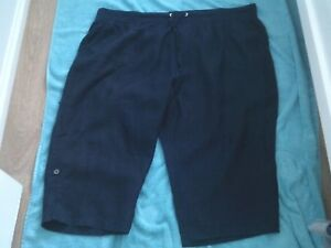 24W-BELLE-CURVE-NAVY-BLUE-LINEN-CROP-PANTS-WIDE-STRETCH-WAIST-BAND-NWT-29