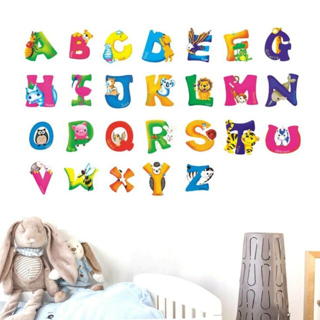 Bedroom Nursery Home Decor 26 Letters Wall Stickers Mural Poster Wall Decal