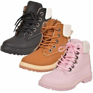 Kids Ankle Boots Faux Leather Lace Up Ankle Padded Hiking Shoes Pink