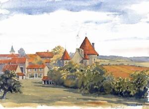 AUDREY REDDY Watercolour Painting BURGUNDY FRANCE LANDSCAPE