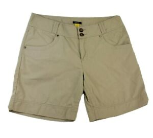 Cabelas-Womens-Shorts-Size-12-Tan-Beige-Bermuda-Embroidered-Cotton-Blend