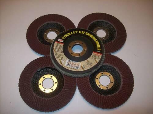 """5 ASSORTED GRIT 4-1//2/"""" ANGLE GRINDER SANDING FLAP DISC"""