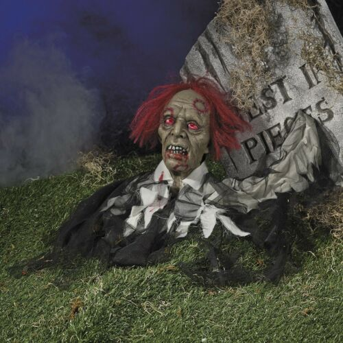Red Eyed LATEX ZOMBIE GRAVE DIGGER Halloween Prop Wedding Graveyard Decoration