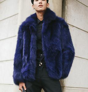Mens Faux Fur Coat Warm Lapel Padded Outwear Winter Dark bluee Soft Parka