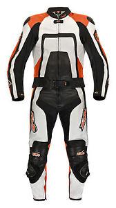 Lederkombi Zweiteiler Schwarz Weiß KTM Orange Motorradkombi zweiteilig 46 - 62