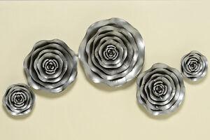 Wanddeko blumen metall silber 77 cm 290600 wandobjekt wandbild wandschmuck ebay - Wandschmuck silber ...
