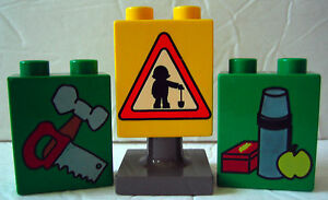 Lego-Duplo-Yellow-Green-SIGN-TOOLS-LUNCH-Bob-Builder-Bricks-Replacement-4-Pieces