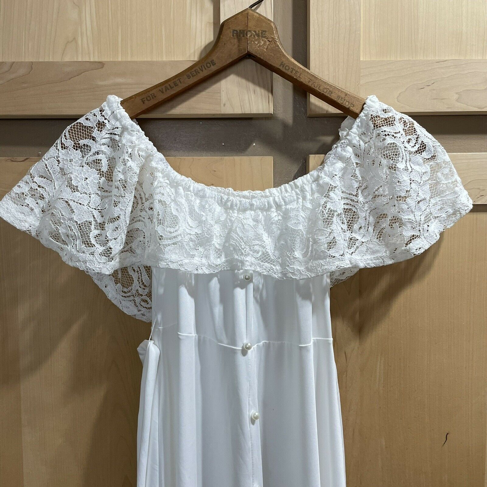Vintage White Lace Gown Wedding Lingerie Prairie … - image 9